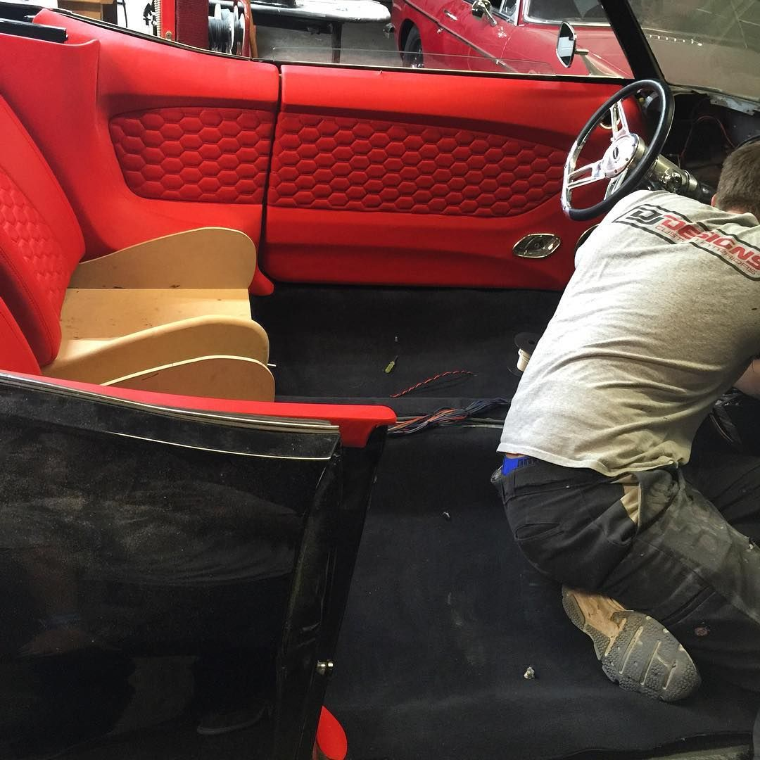 Convertible Black With Red Interior Fesler So Much Djdesigns Door Panels Chevelle Honeycomb Stitching Aluminum Avto