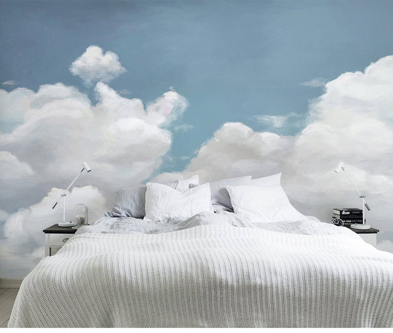 Hand Painted Blue Sky Clouds Wallpaper Wall Mural