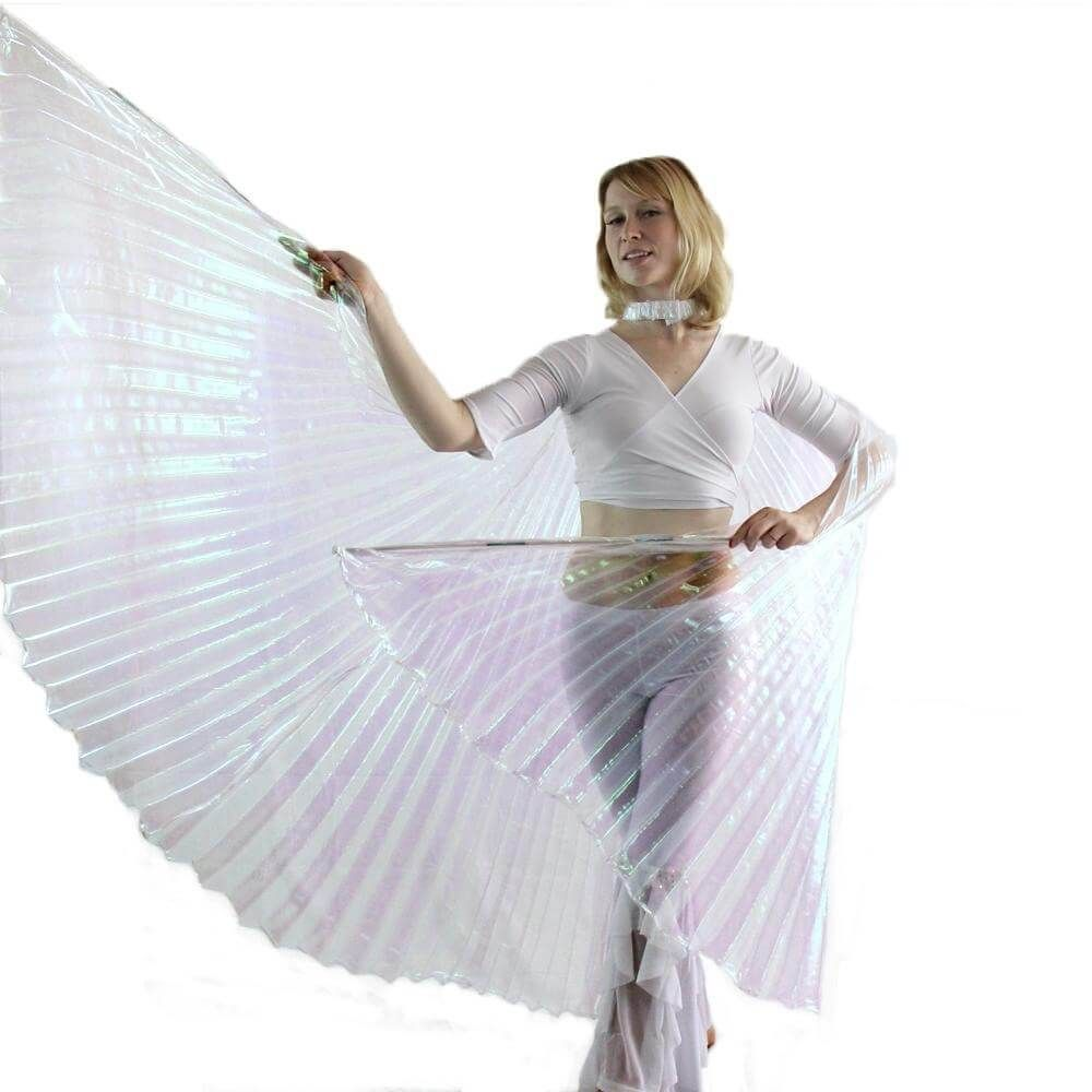Danzcue Iridescent White Belly Dance Worship Angel Wings With Sticks