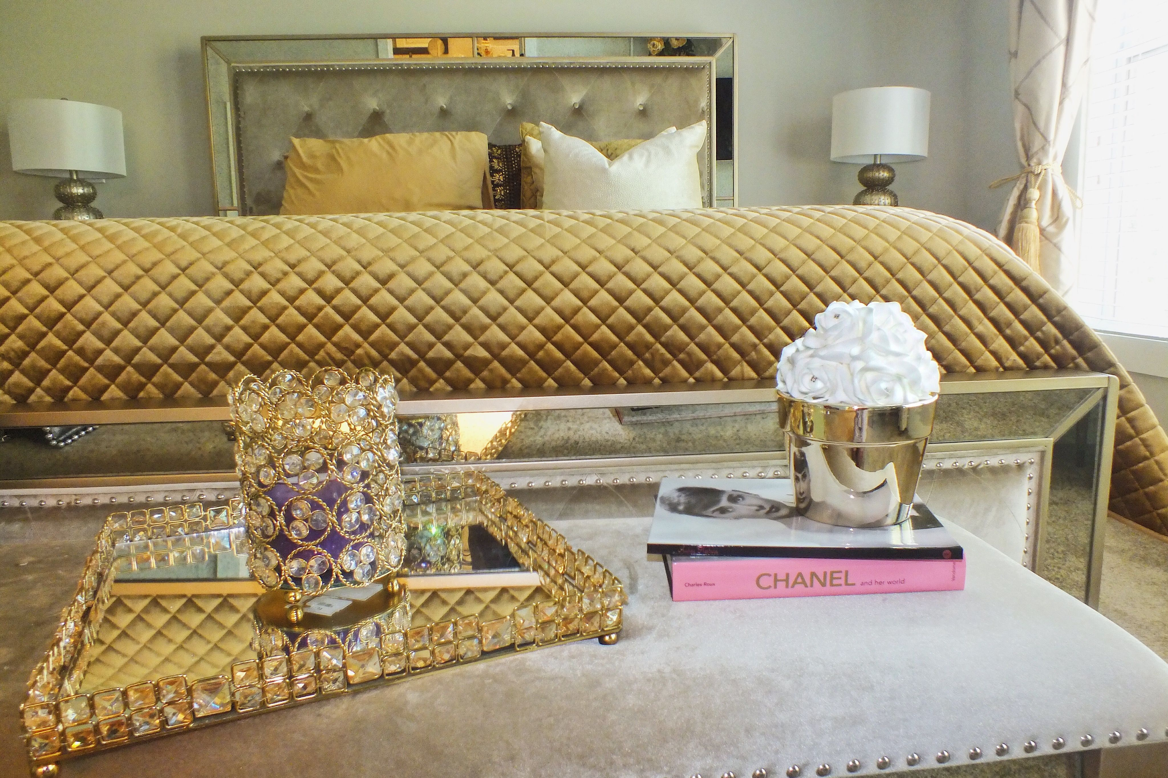 Glam gold and white bedroom decor with Z gallerie and Home