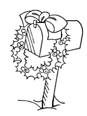 Christmas Mailbox Black And White Drawing Coloring Pages Drawings