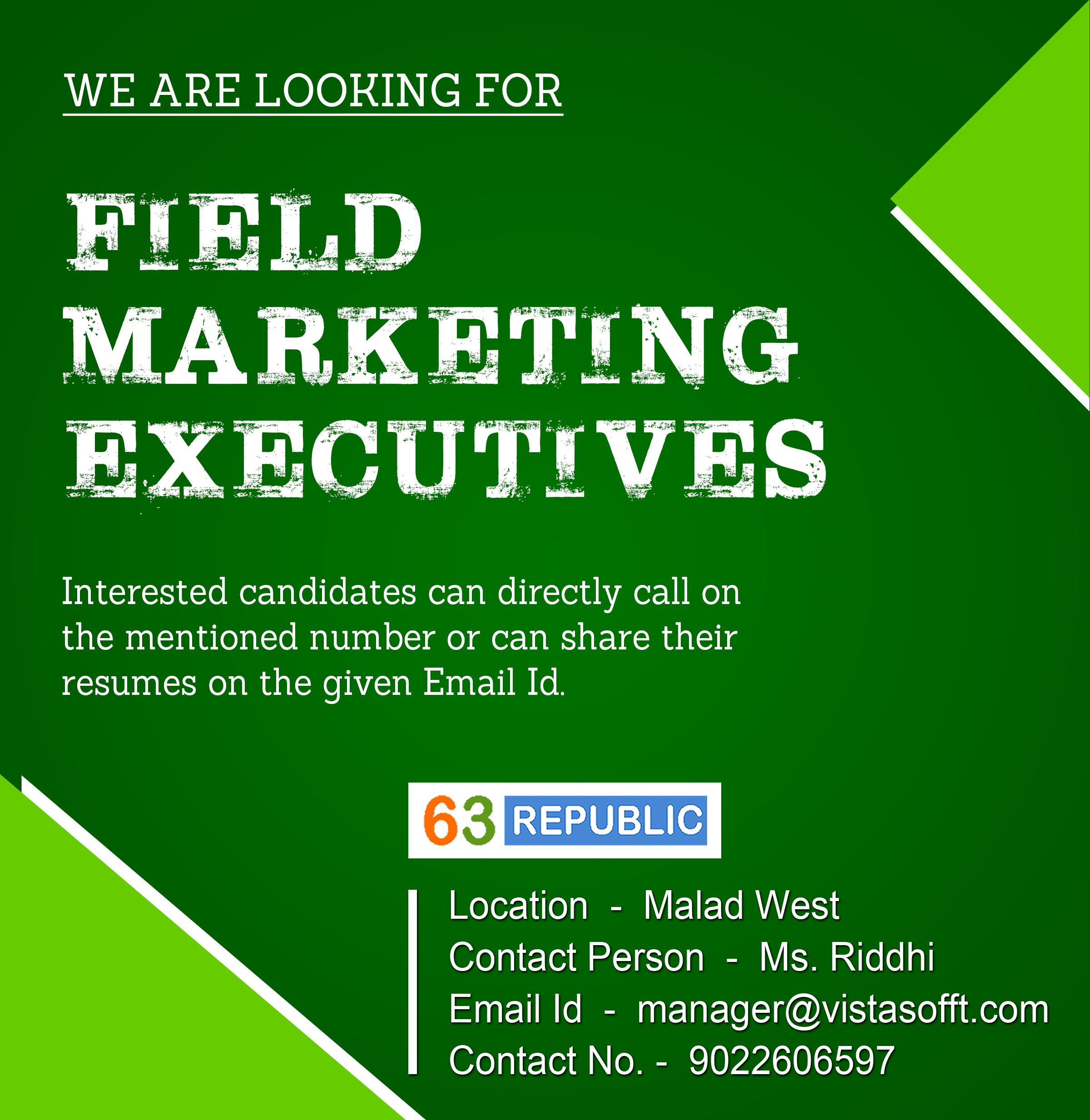 "Field Marketing Manager Sample Resume Magnificent Job Openings For "" Field Marketing Executive"" Interested Applicants ."