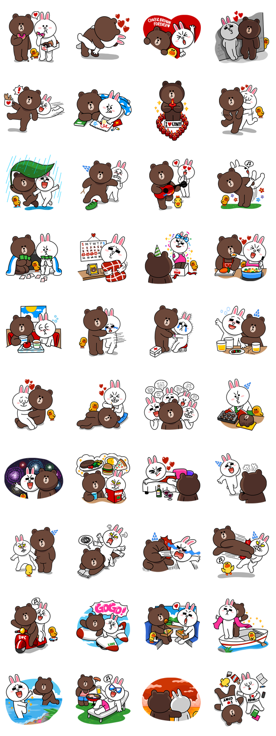 Brown & Cony´s Lovey Dovey date 画像 | Emoticons & stickers ...