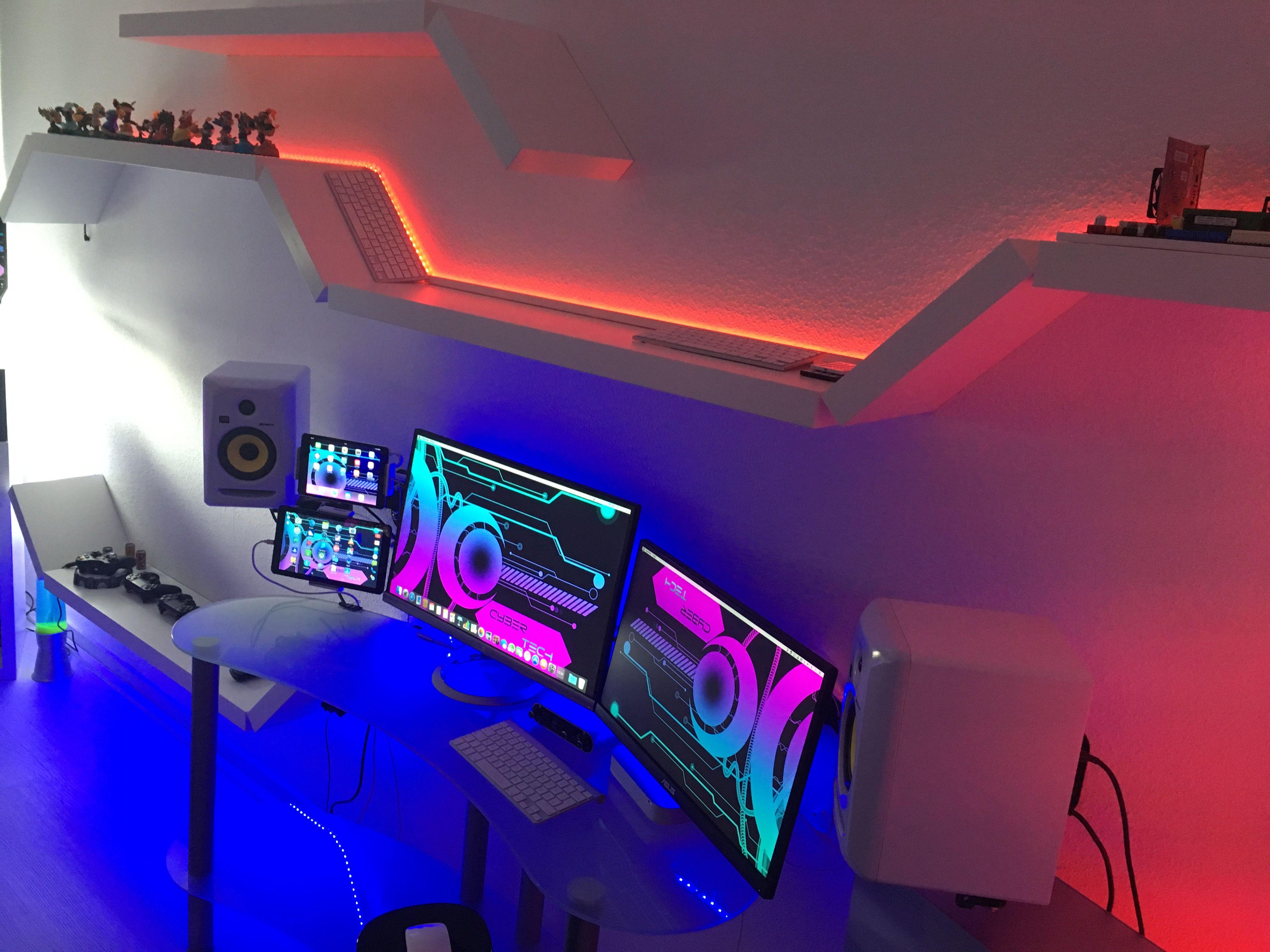 pc gaming room setup 2016 pinterest. Black Bedroom Furniture Sets. Home Design Ideas