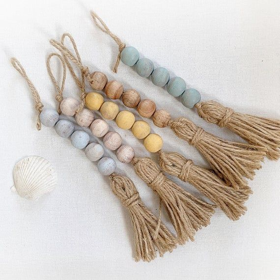 Photo of 5 Mini drawer pull for coastal living; Seafoam, whitewash, sea glass, wooden bead tassel for door knob; Coastal door knob tassels with beads