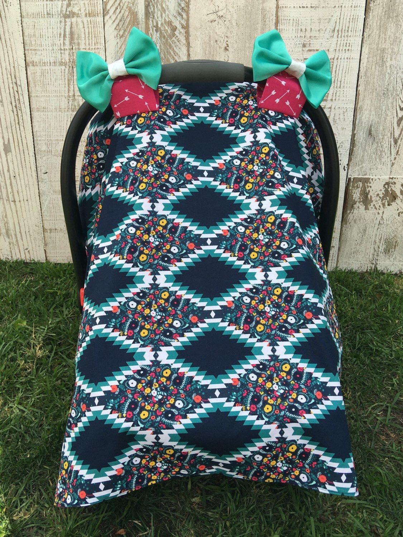 Custom Baby Girl Tribal Car Seat Cover Set, Boho Car Seat Canopy ...