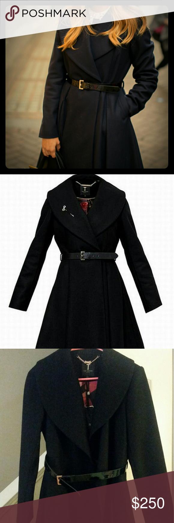 ec3476329017c Ted Baker Flared skirt coat- Black Black Ted Baker coat