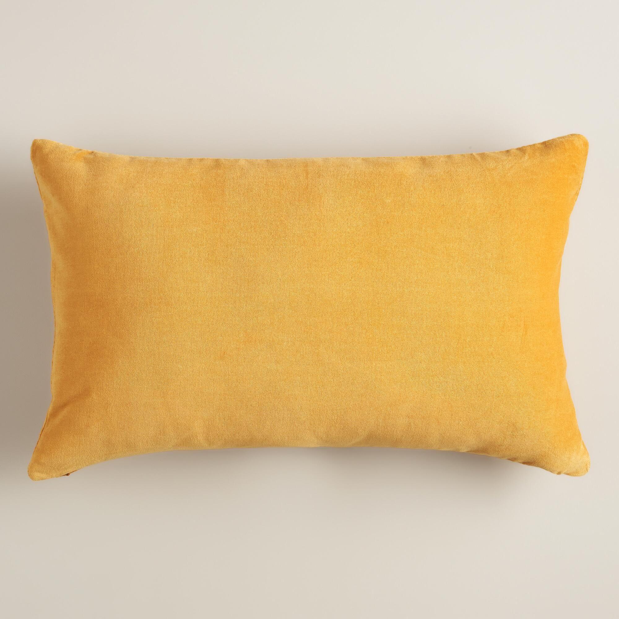 mustard yellow velvet lumbar pillow
