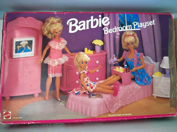 Bon Vintage Barbie Bedroom Set Dolls House Furniture Dolls Bed