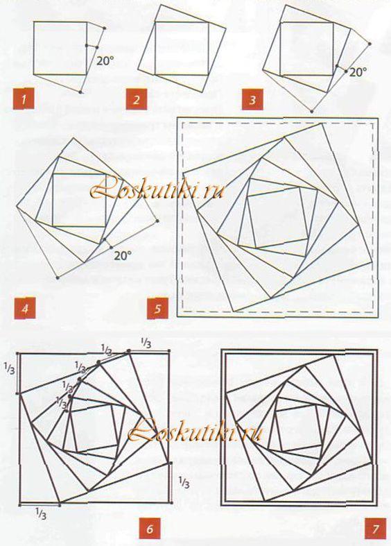 Resultado de imagen para bloque con cuadrados girados en pachtwork