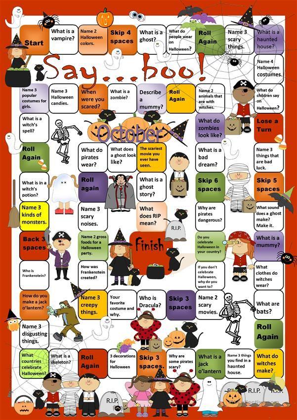 Halloween Boardgame Juegos para aprender ingles