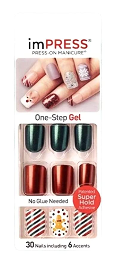 Amazon Com Kiss Impress Press On Manicure Christmas Red And Green Nails 67978 Claim To Fame Beauty In 2020 Christmas Manicure Green Nails Manicure