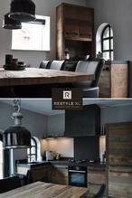 Mooie RestyleXL eiken keuken. Oud eikenhout in combinatie met blauwstaal en een composiet keukenblad.