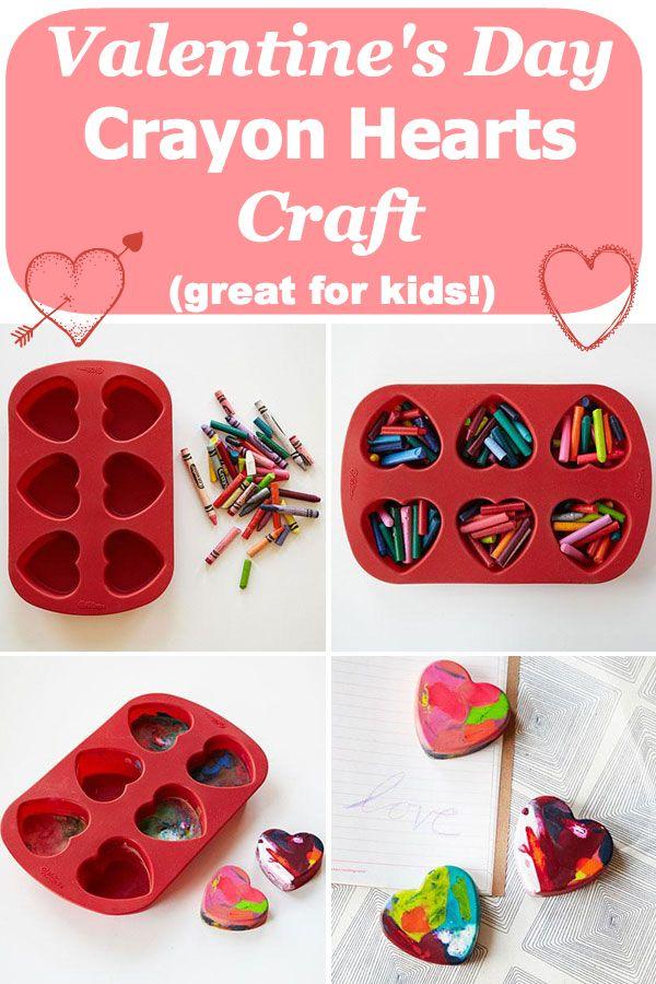 Crayon Hearts Kids\' Valentine Craft   Melted crayon heart, Crayon ...