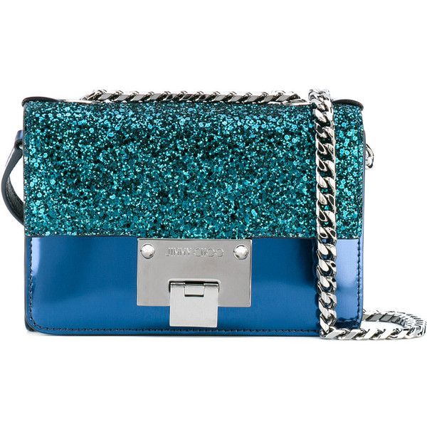 Jimmy Choo glittered mini Rebel bag ($835) ❤ liked on Polyvore featuring bags, handbags, shoulder bags, blue, jimmy choo purses, blue shoulder bag, peacocks handbags, mini shoulder bag and metallic handbags