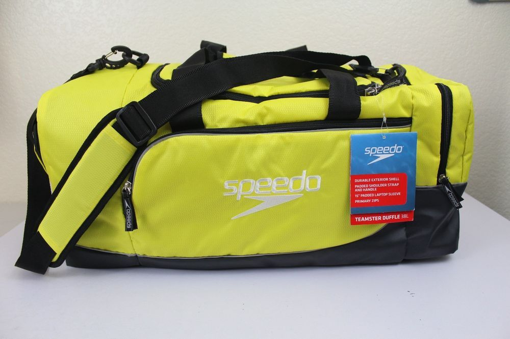 Speedo Teamster Duffel 38L Sport Gym Bag With 15 Padded Laptop Sleeve Yellow