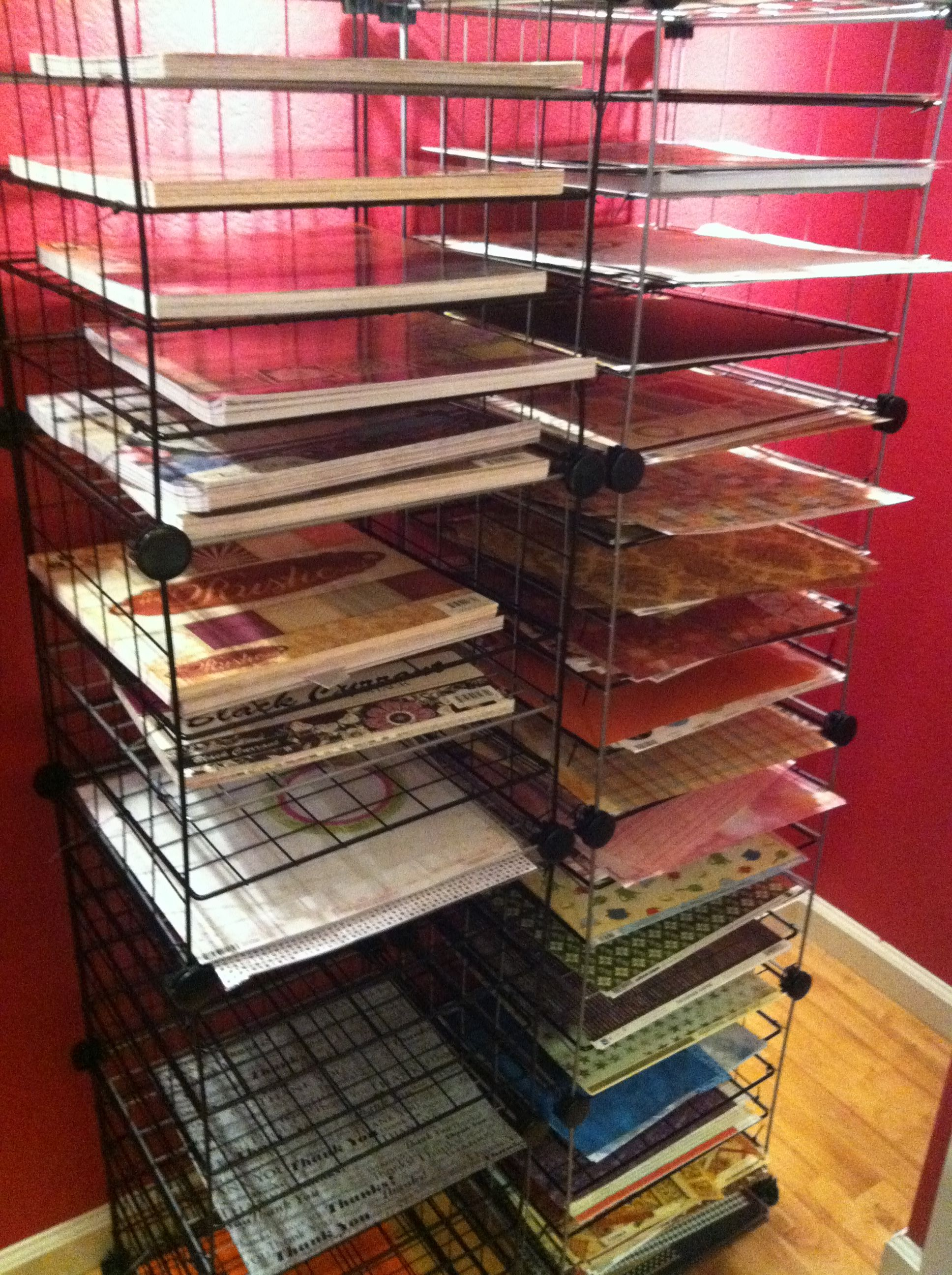 12x12 Paper Storage Rack Made From Wire Cube Storage Systems Paper Storage Cube Storage Craft Room