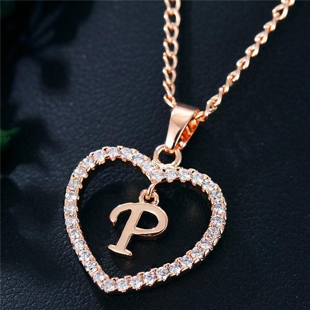 Best Seller Romantic Love Pendant Necklace For Girls 2019 Women Rhinestone Initial Letter Necklace Alph Letter Pendant Necklace Letter Pendants Letter Necklace