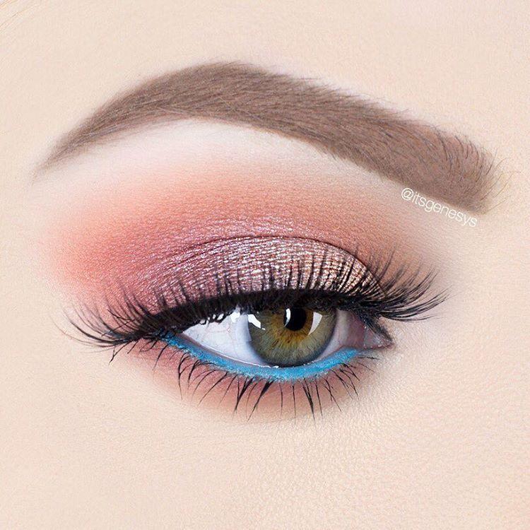 Clean 2 Tone Eye Makeup Look With Pink Eyeshadow And Blue Waterline