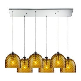 Westmore Lighting Avia 30-In Polished Chrome And Amber Glass Mini Tint