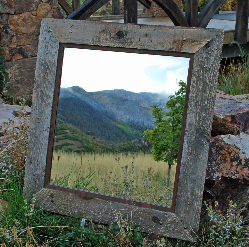 Rustic Mirror - Park City Style Barnwood with Alder Inset and ...
