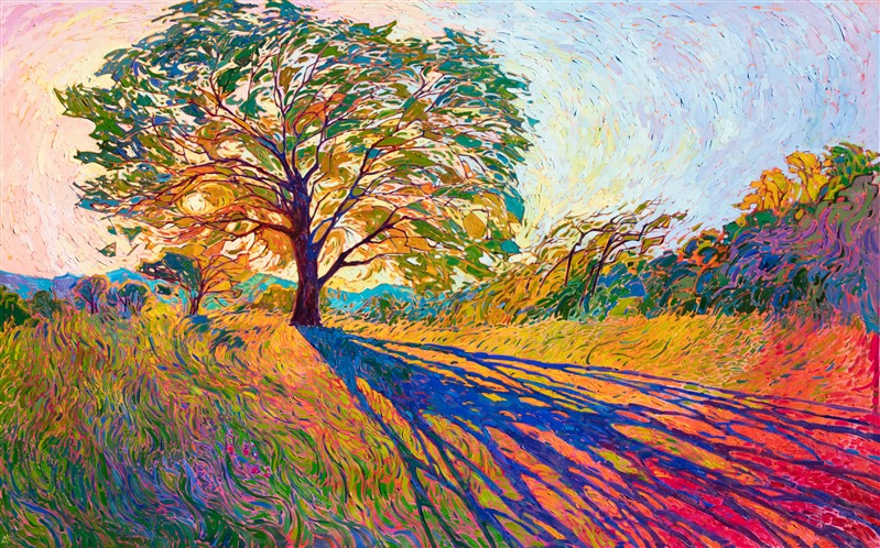 Crystalline Light Filters Through The Oak Tree In This Impressively Large Oil Painting Of In 2020 Contemporary Impressionism Fine Art Prints Artists Large Oil Painting
