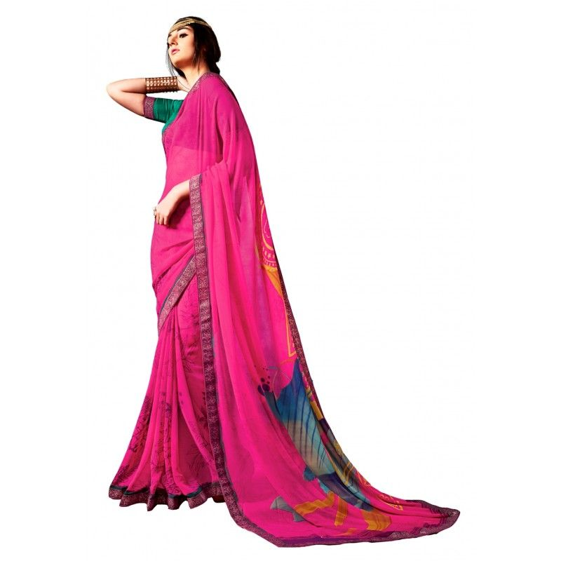 Pink sari with heavy embroidered border | Saree designs