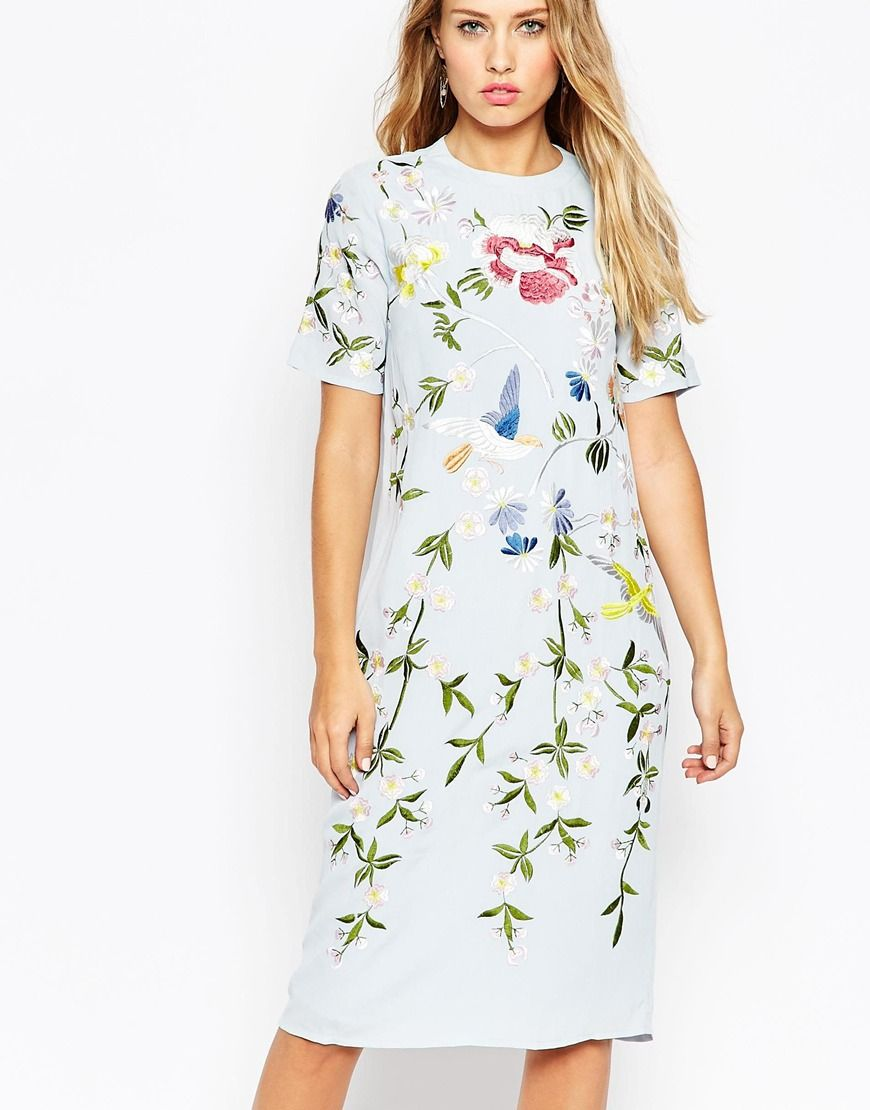 ASOS DESIGN Petite Mini Dress With Pretty Floral And Bird Embroidery - Nude Asos Petite Best Store To Get Latest Collections Cheap Online Geniue Stockist Cheap Price vvpBkS5mHA