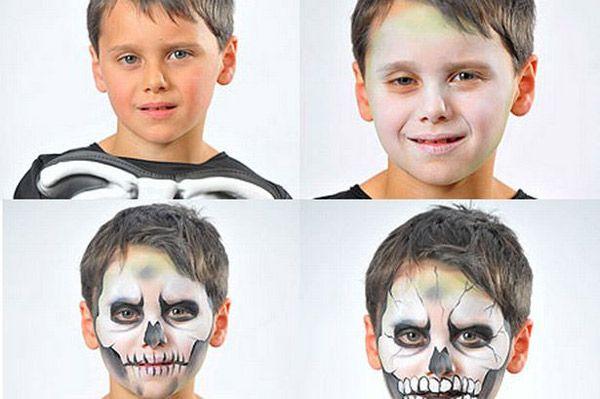 Maquillaje de Halloween para nios bruja esqueleto y calabaza