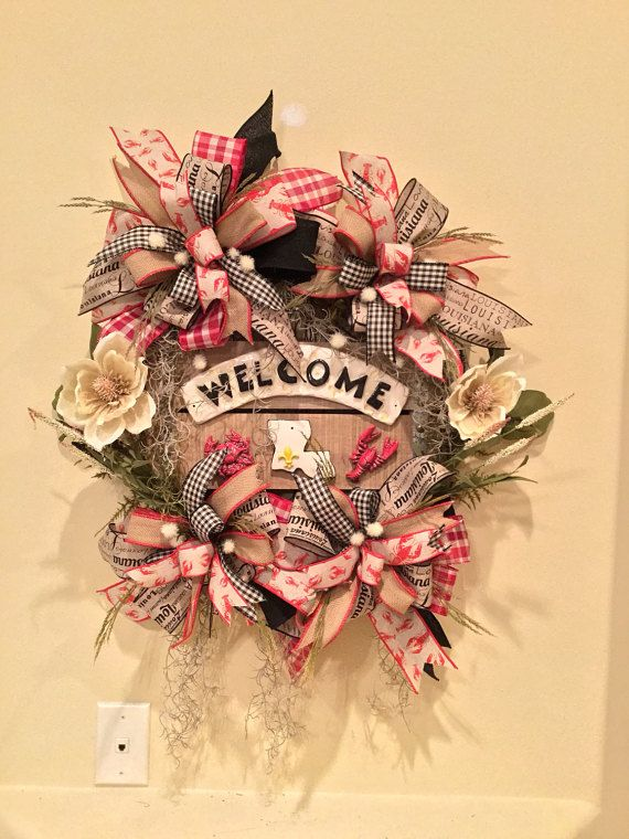 Welcome Louisiana Wreath Fleur De Lis Cajun Wreath Crawfish Home Wreath Door Hanger
