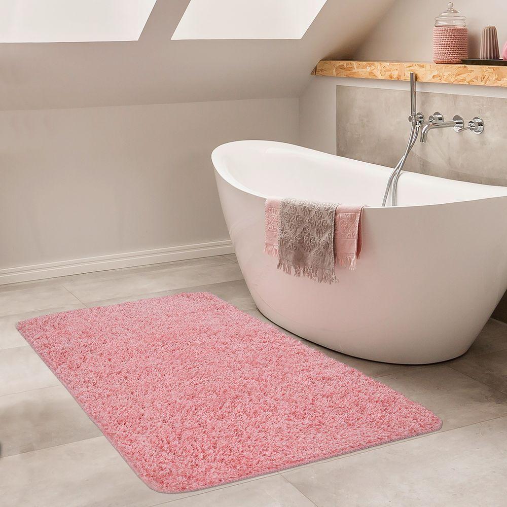 Badezimmer Teppich Einfarbig Hochflor Pink Badteppich Badematten