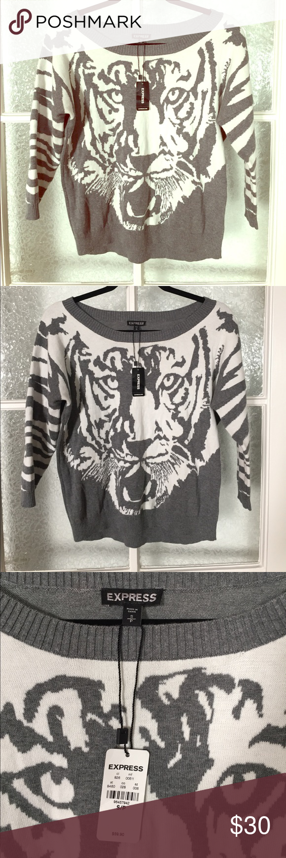 New express tiger sweater nwt Clothes design, Fashion