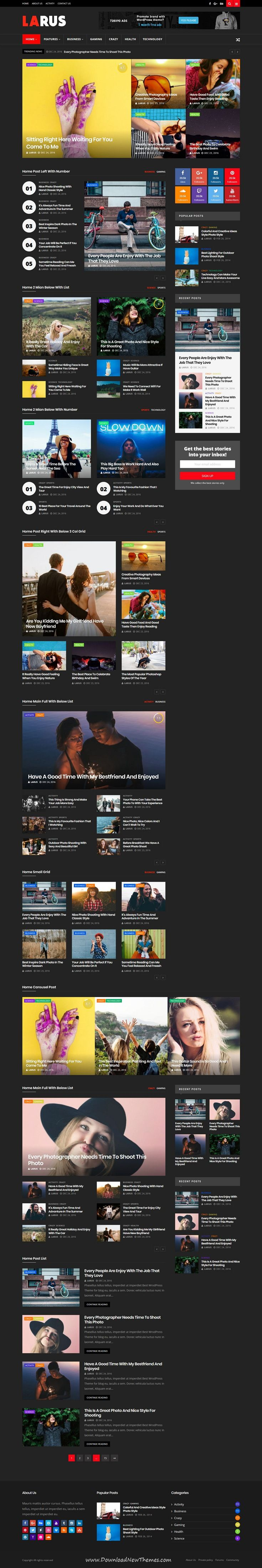 Larus - WordPress Blog Magazine Theme   Wordpress, Wordpress blog ...