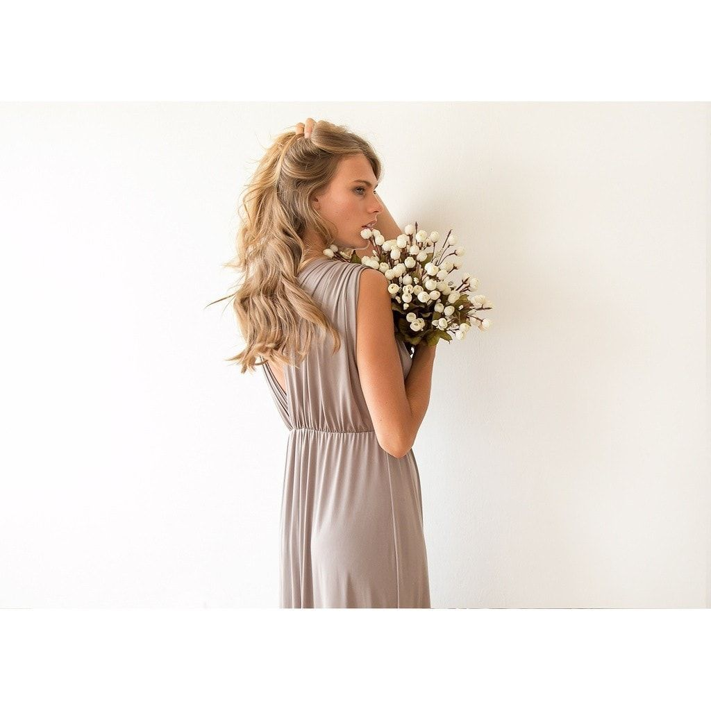 Taupe sleeveless maxi dress products pinterest products