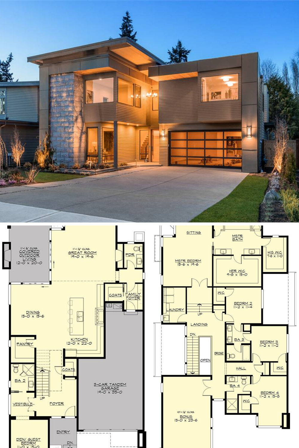 Two Story 4 Bedroom Sunoria Contemporary Style Home Floor Plan Best Modern House Design Modern House Floor Plans Modern Style House Plans