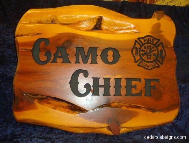 18 inch cedar sign Camo Chief Fire Dept Maltese Cross Boston Truckstyle Font