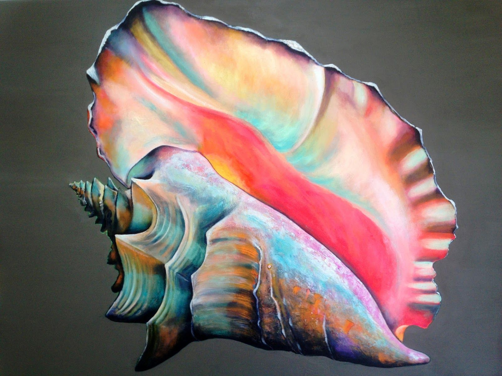 Conch Shell Paintings Google Search Sea Shell Project Pinterest Shell Painting Conch Shells And Conch Sea Shells Painted Shells Shell Art