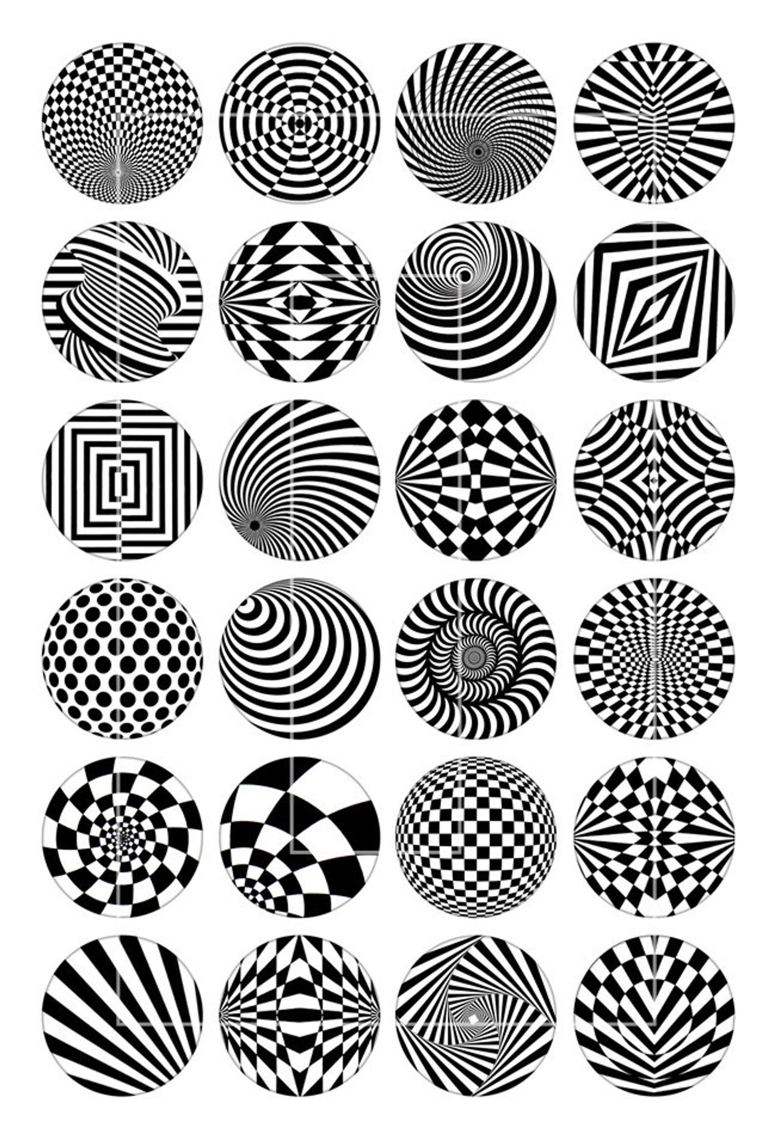 Op art 10mm 12mm 14mm 16mm 18mm Optical Illusion Pop Art Printable images  Digital Collage Sheet - Instant Download