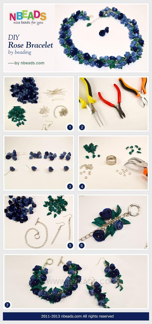 DIY rose bracelet by beading