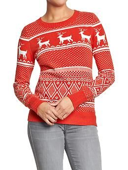 Womens Fair Isle Sweaters Old Navy Pretty Much Perfect Reindeer