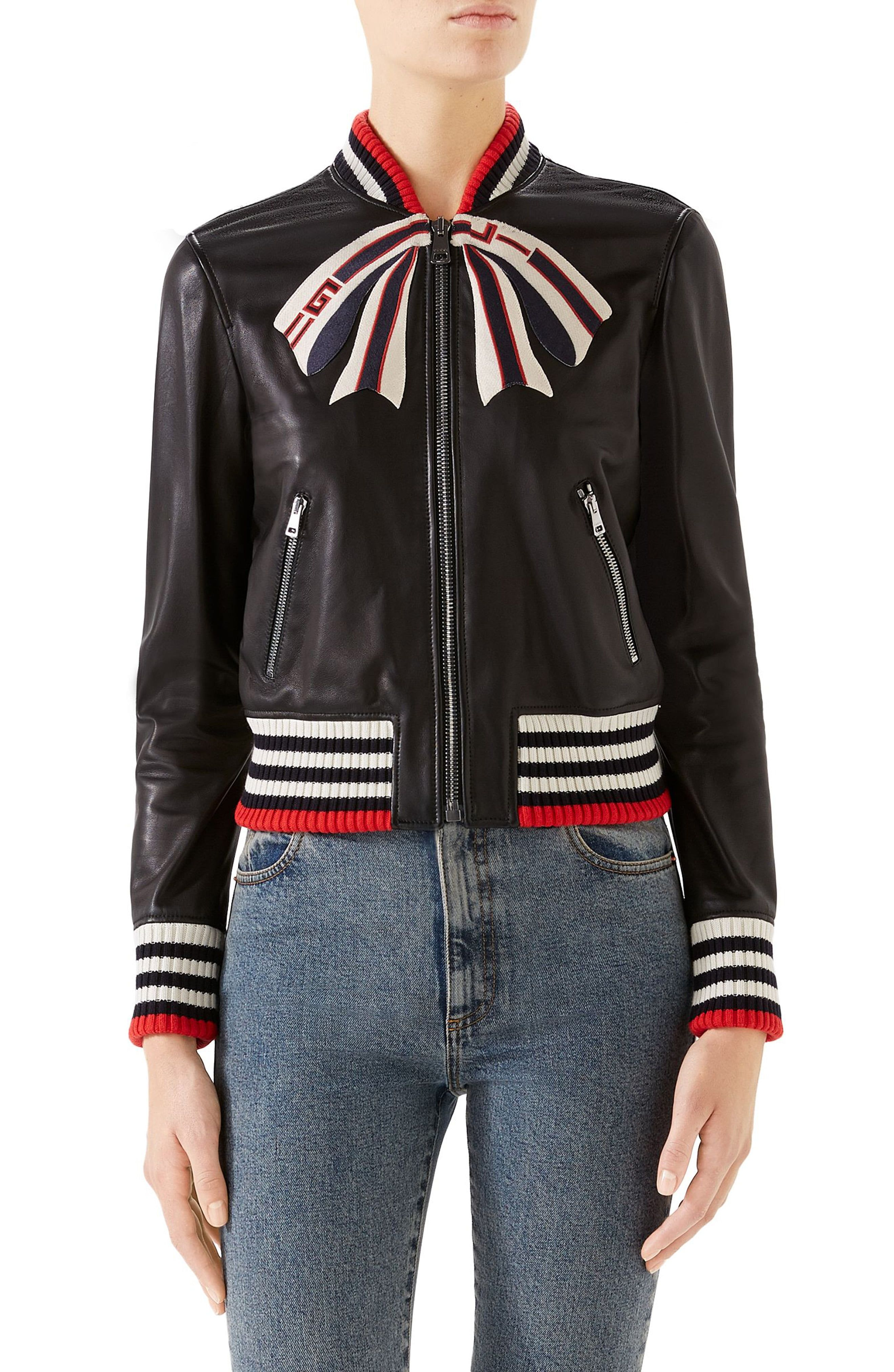 Women's Gucci Bow Leather Bomber Jacket, Size 12 US / 48