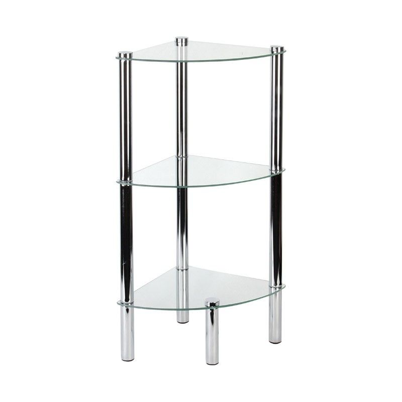 Benny 3 Tier Shelf Clear Glass Shelves Wooden Corner Shelf Shelves