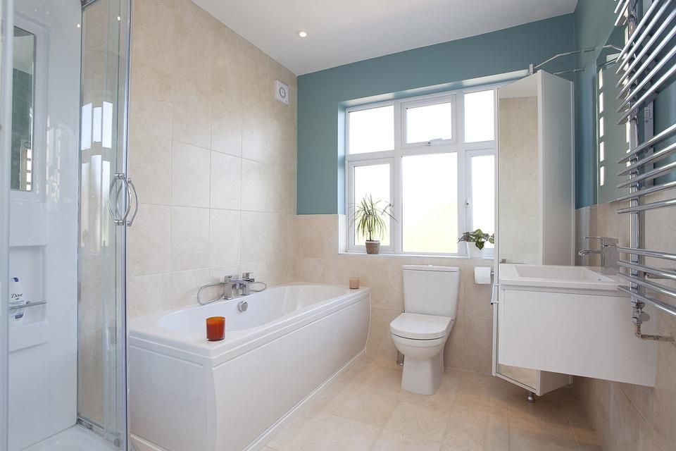 Beige Blue White Bathroom