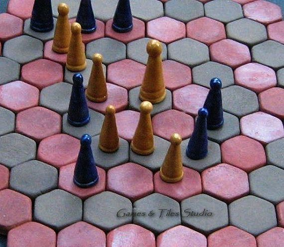 Agon or Queen's Guards, Royal Guards - hexagonally-celled unique ceramic gameboard - in dark brown and terracotta red color-
