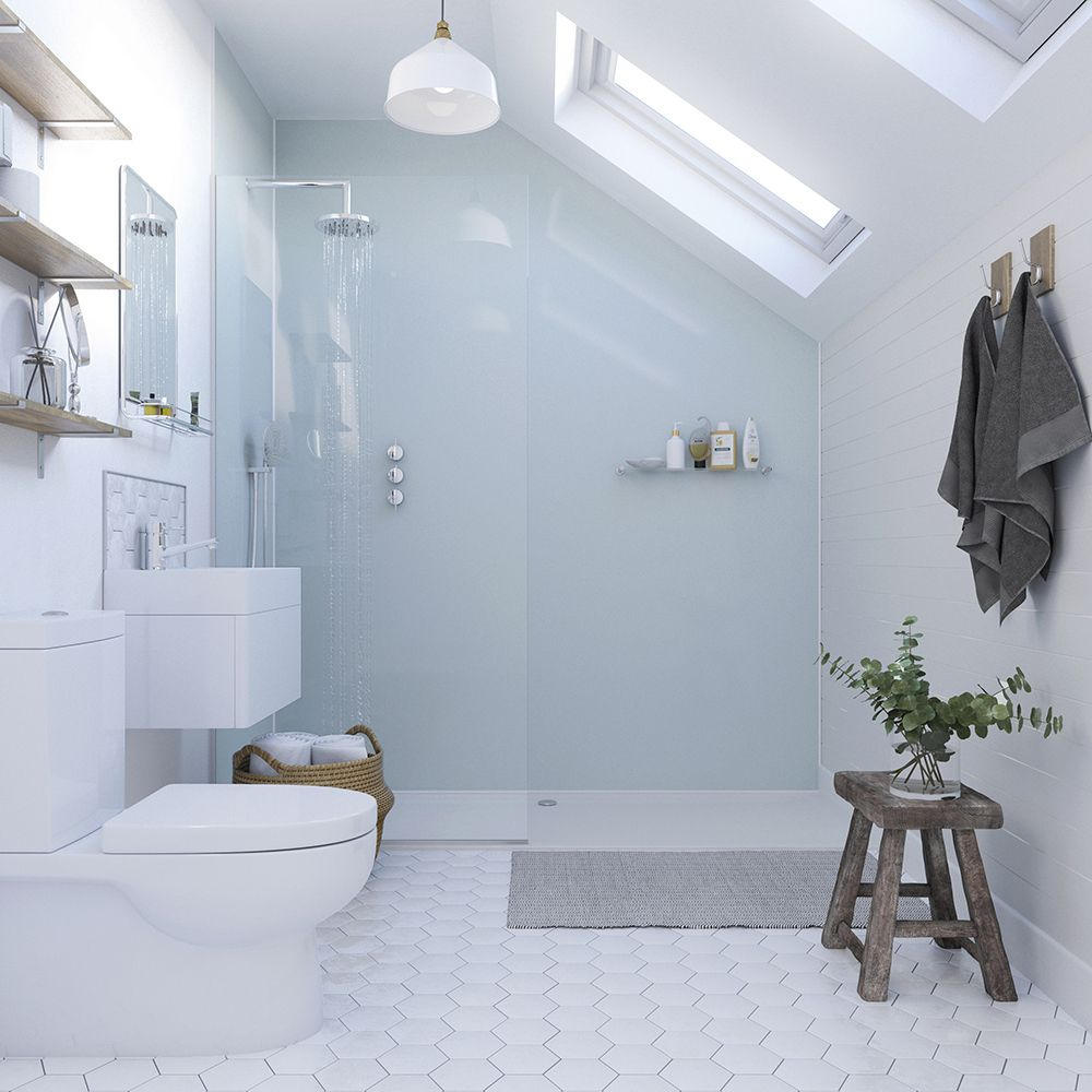 Showerwall Wall Panel Aqua Ice Straight Edge 2440 X 1200mm Sw11 Acrylic Shower Walls Shower Wall Panels