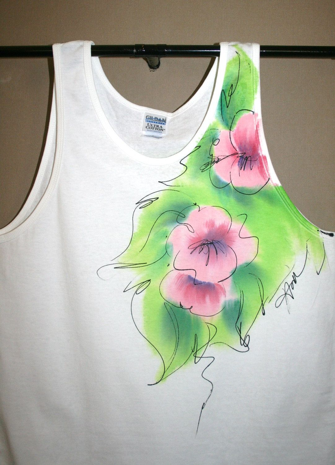 Hand Painted Pink Flowers T Shirt Watercolor Effect Hand