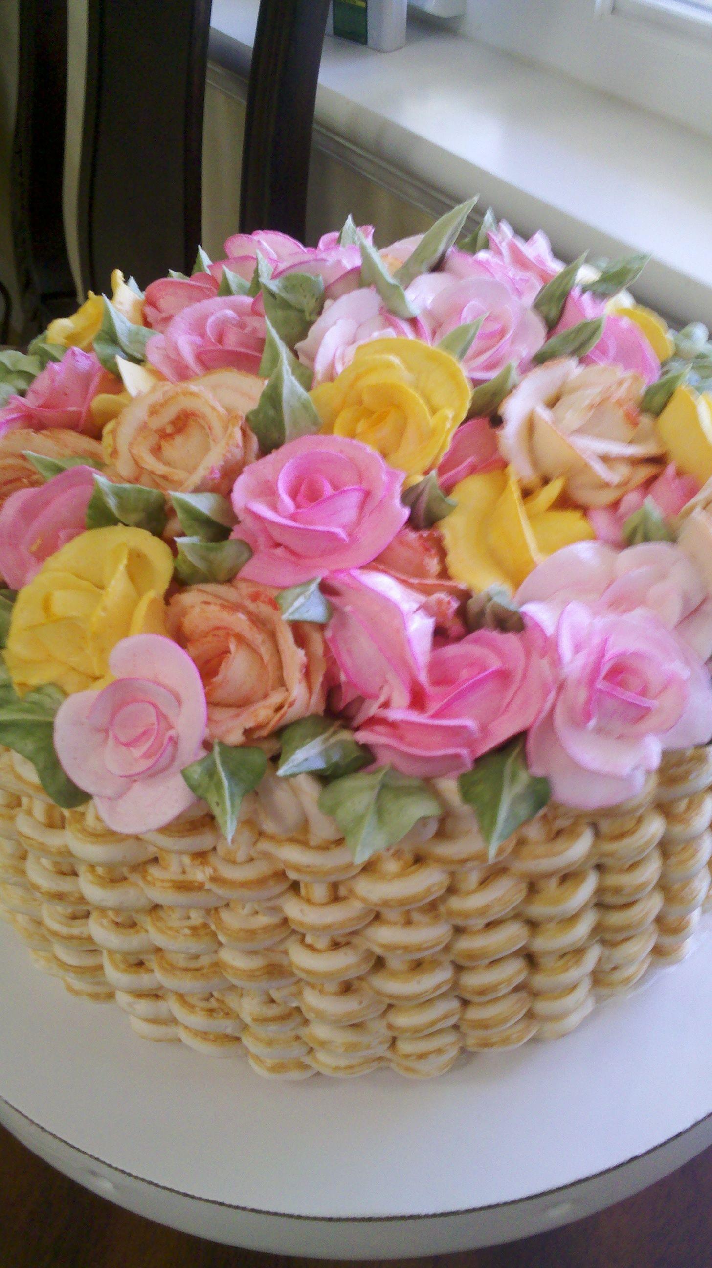 Flower Basket Cake (With images) Flower basket cake