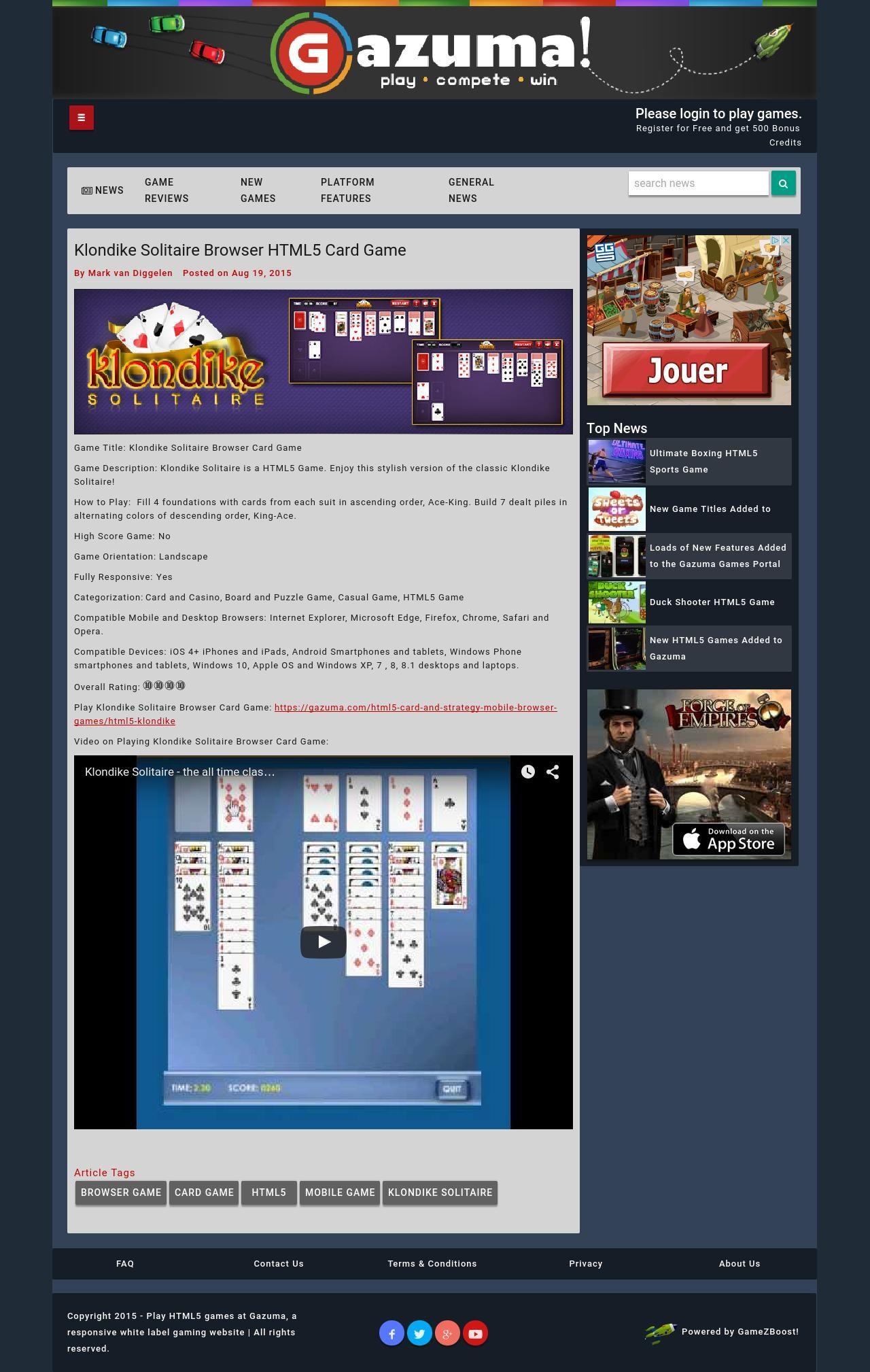 HTML5 gaming news publishing platform, news