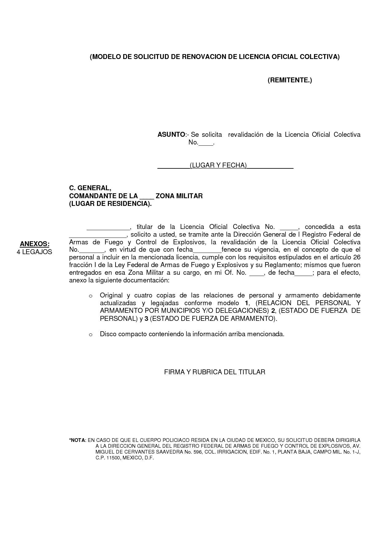 MODELO DE SOLICITUD DE RENOVACION DE LICENCIA OFICIAL COLECTIVA by ...