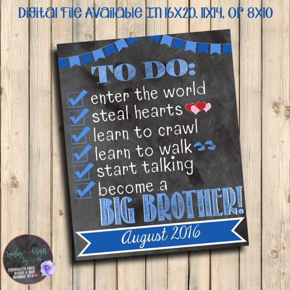 Becoming a Big Brother To Do List Pregnancy Announcement, Chalkboard To Do List Pregnancy Reveal, Become Big Brother, Baby Number 2, Digital